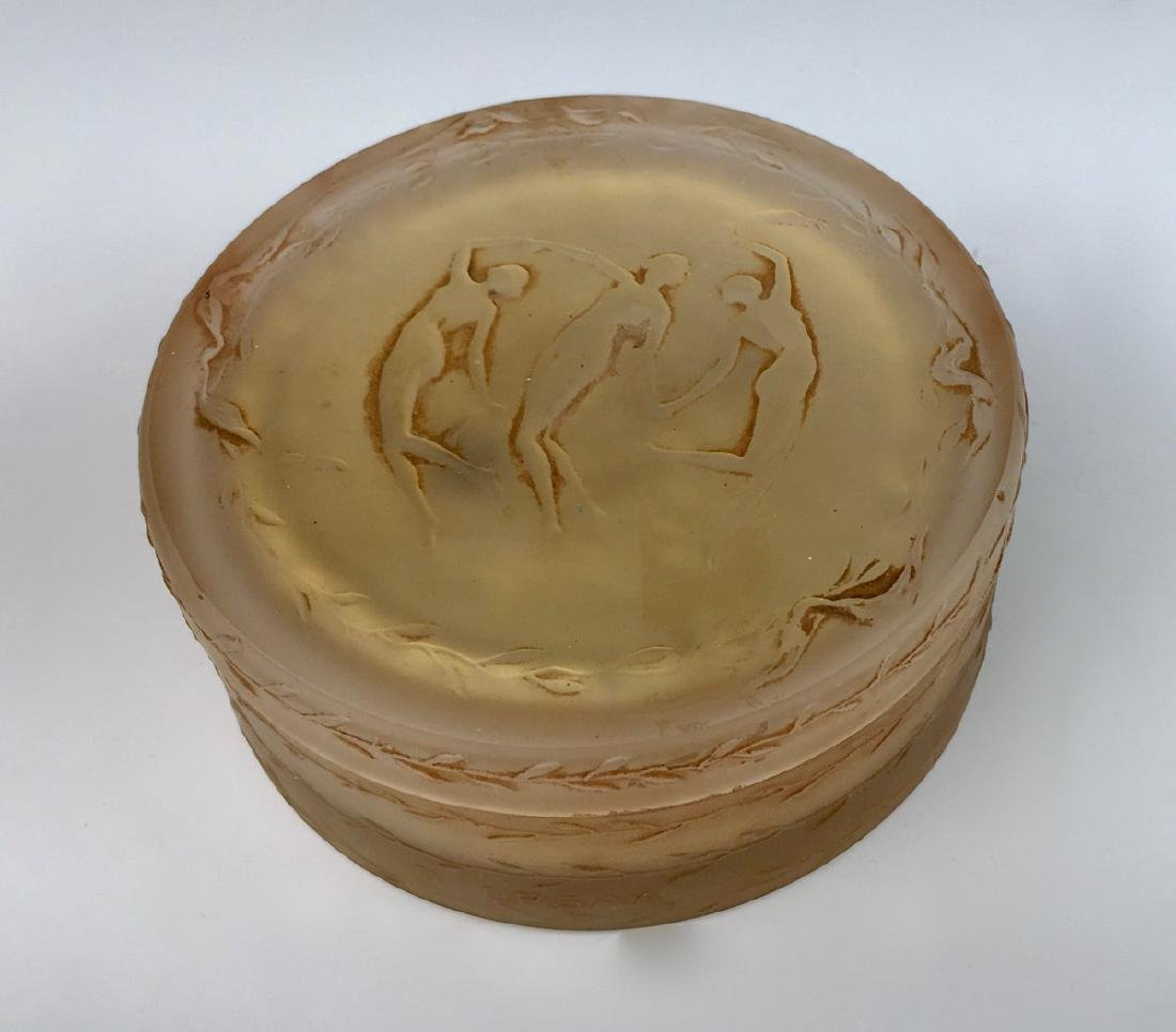 "R. Lalique ""Trois Figurines"" Glass Powder Box - 2"
