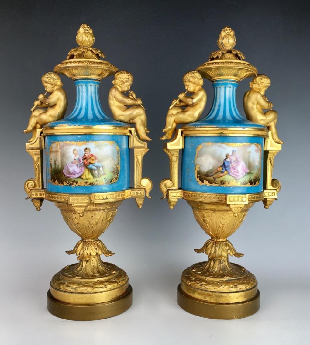 Pair Sevres Louis XV Urns