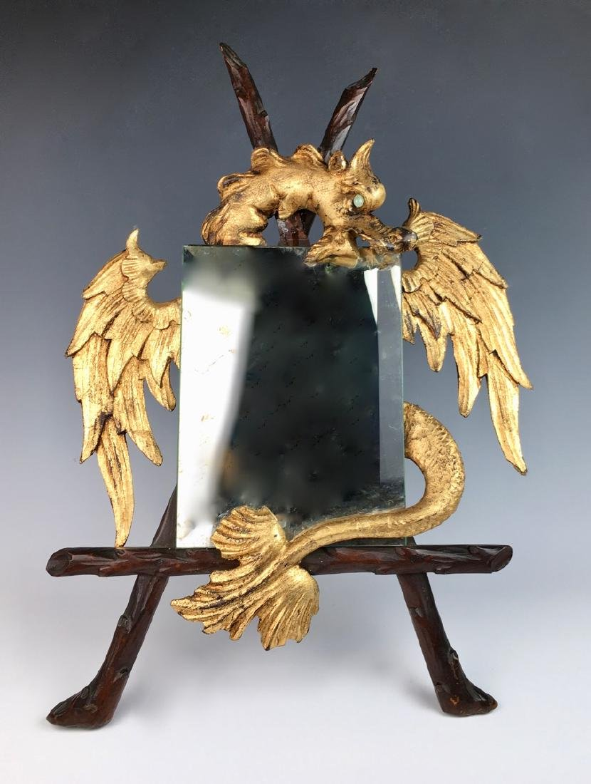 Carved Gilt Wood Winged Dragon w/ Mirror C. 1900