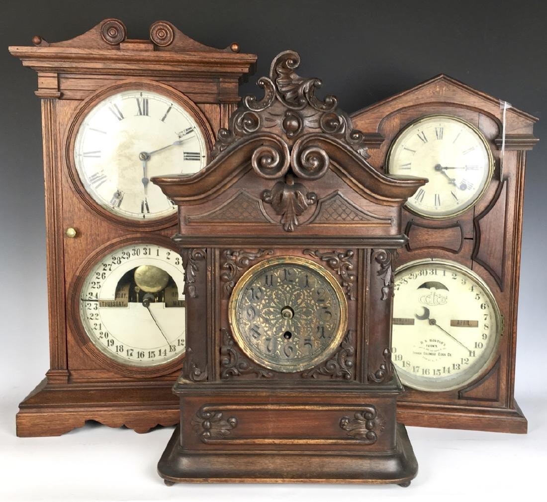3 Victorian Clocks, 2 with Double Dials