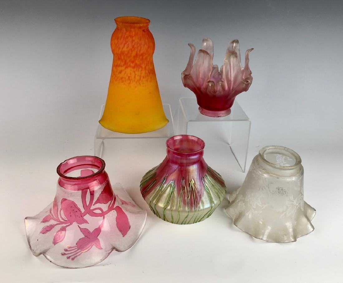 5 Art Glass Gas Shades C. 1910 - 2