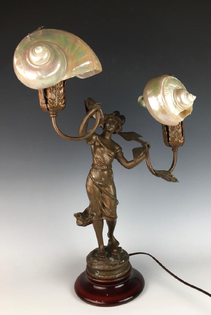 Victorian Figural Lamp with Shell Shades
