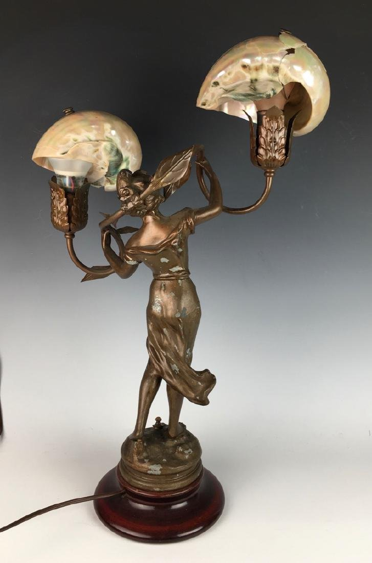 Victorian Figural Lamp with Shell Shades - 2