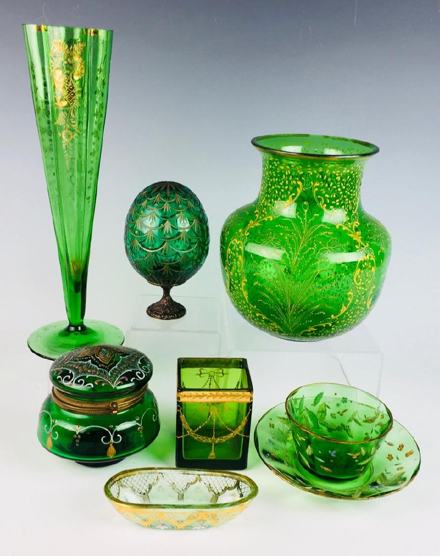 Group of 8 Moser Style Glass Items in Green Glass
