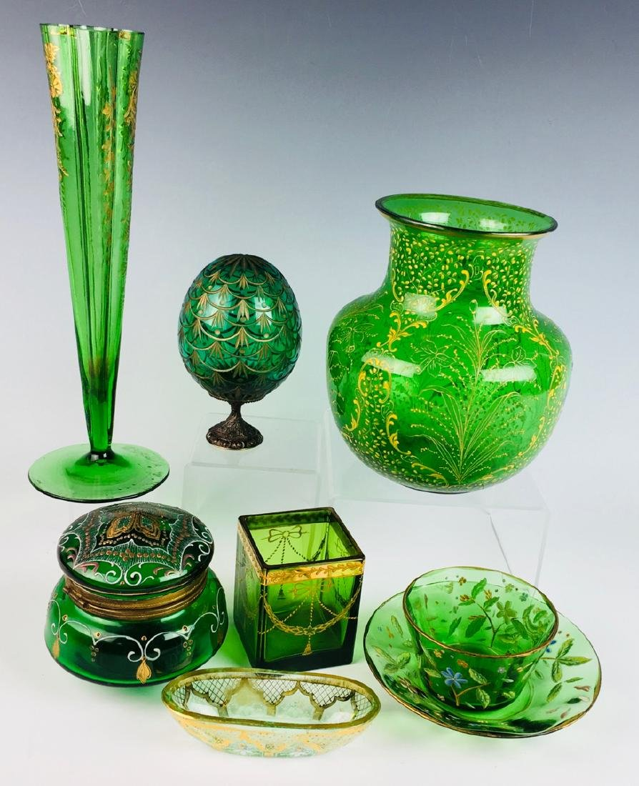 Group of 8 Moser Style Glass Items in Green Glass - 2