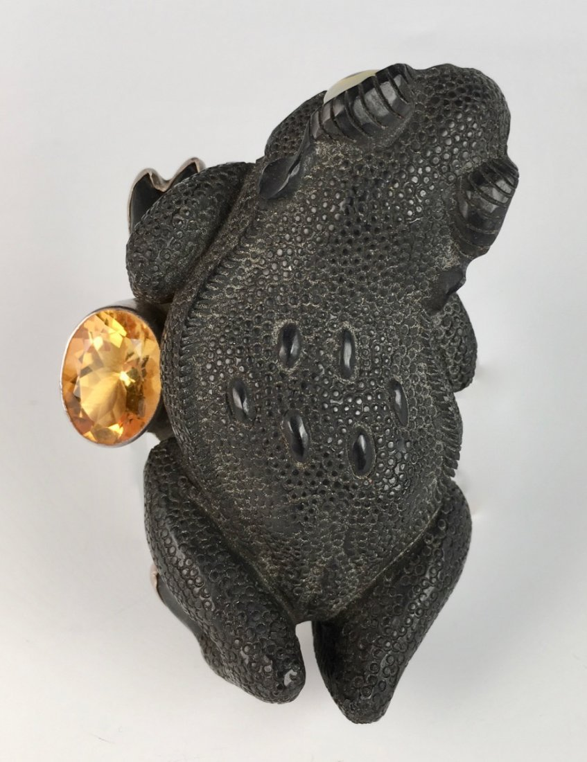 Unusual Vintage Frog with Citrine Brooch - 4