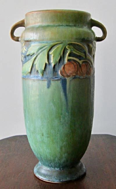 Roseville Green Baneda Vase w/ Blue Drip C. 1933