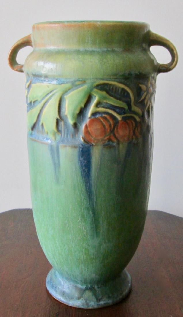 Roseville Green Baneda Vase w/ Blue Drip C. 1933 - 2