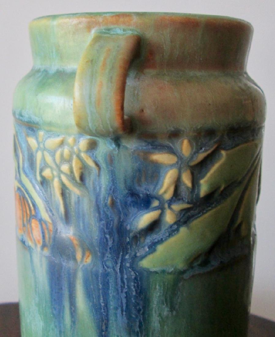 Roseville Green Baneda Vase w/ Blue Drip C. 1933 - 3
