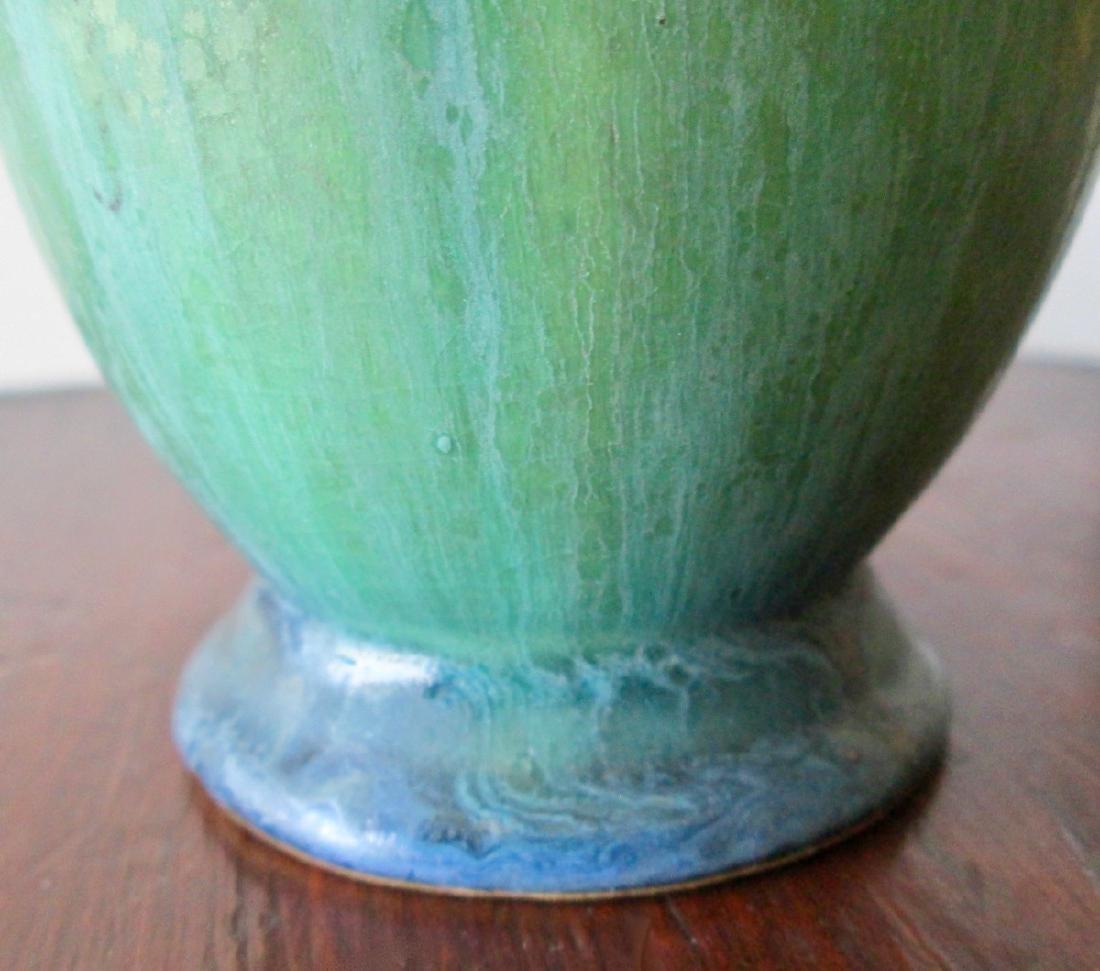 Roseville Green Baneda Vase w/ Blue Drip C. 1933 - 4