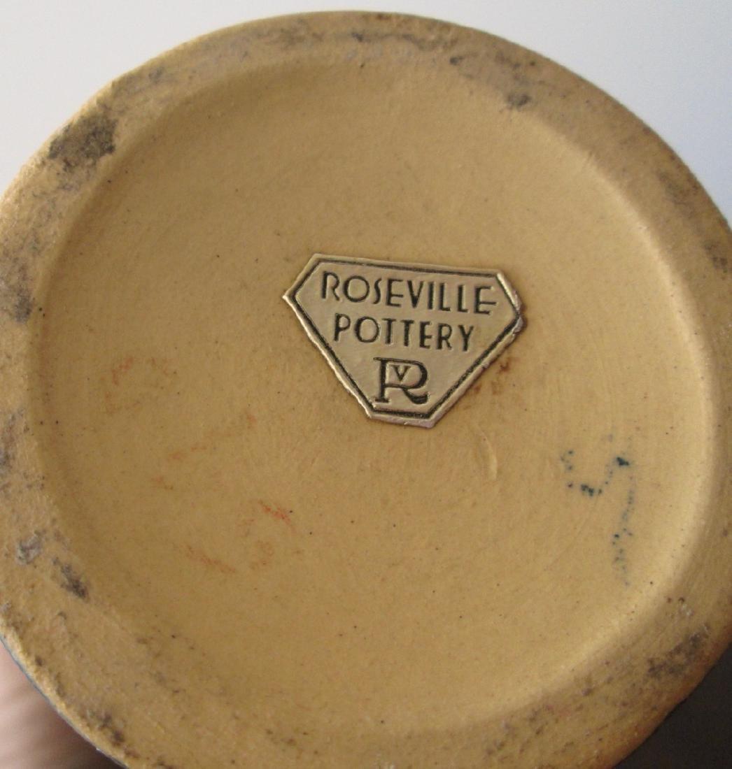 Roseville Green Baneda Vase w/ Blue Drip C. 1933 - 5