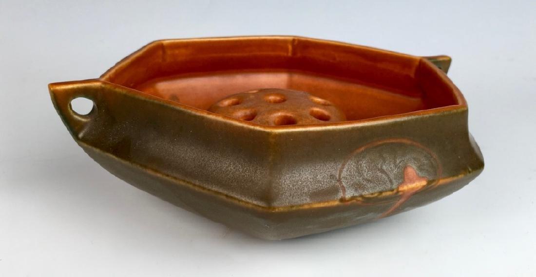 Roseville Hexagon Bowl with Flower Frog - 4