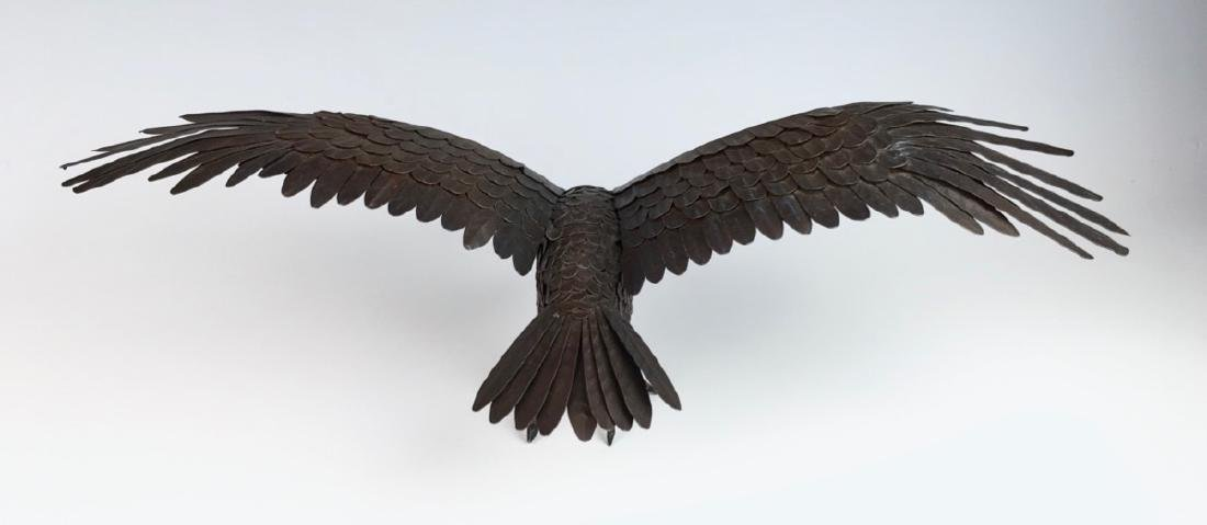 Patinated Metal Reticulated Winged Eagle - 2