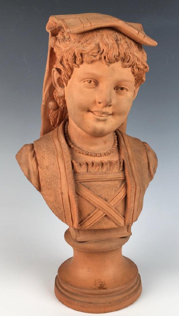 Antique Terra Cotta Bust of a Young Girl