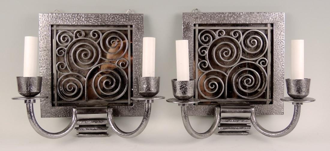 Pair of Art Deco Metal Wall Sconces