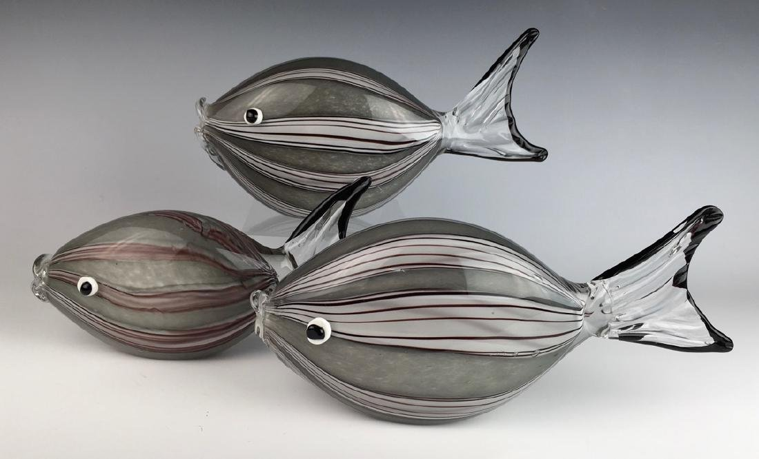 3 Piece Internally Decorated Murano Glass Fish