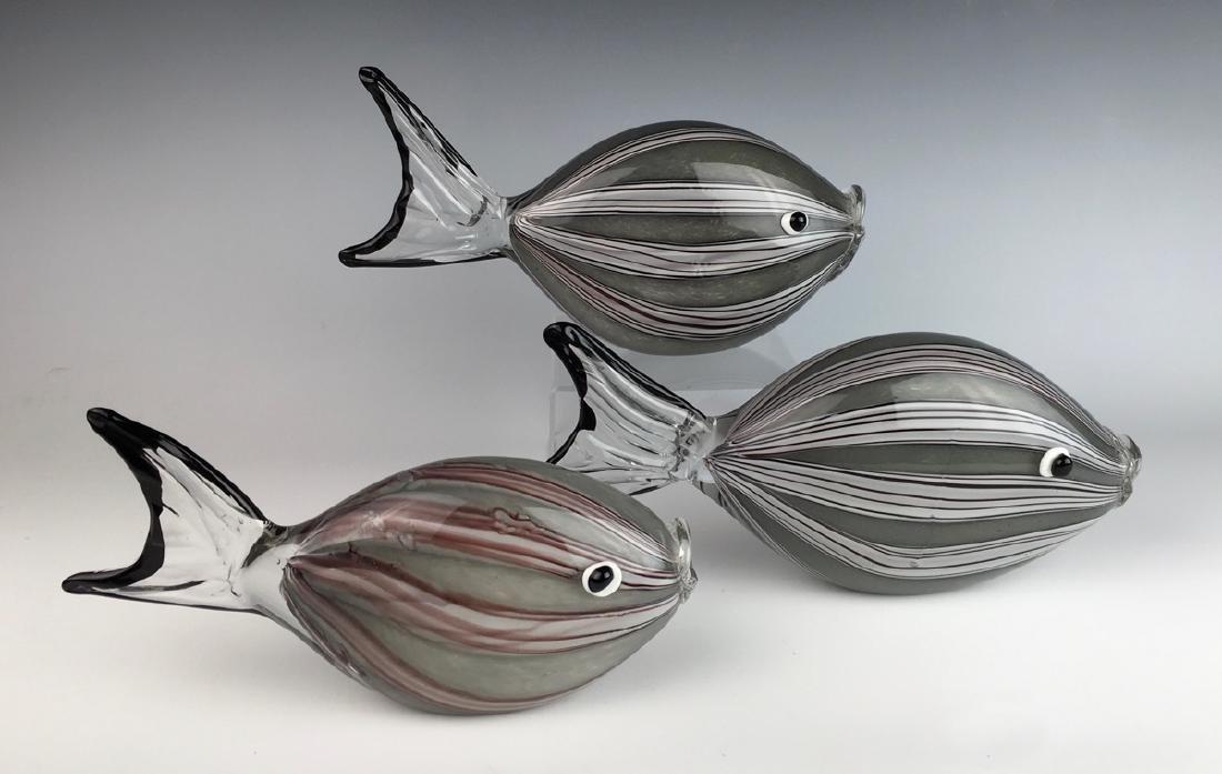 3 Piece Internally Decorated Murano Glass Fish - 2