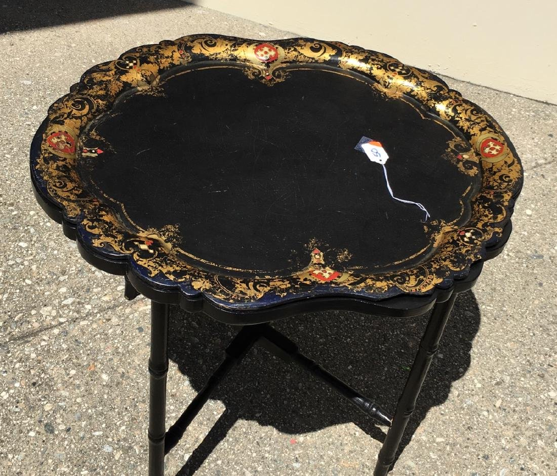 Chinoiserie Lacquerware Tray and Stand C. 1900