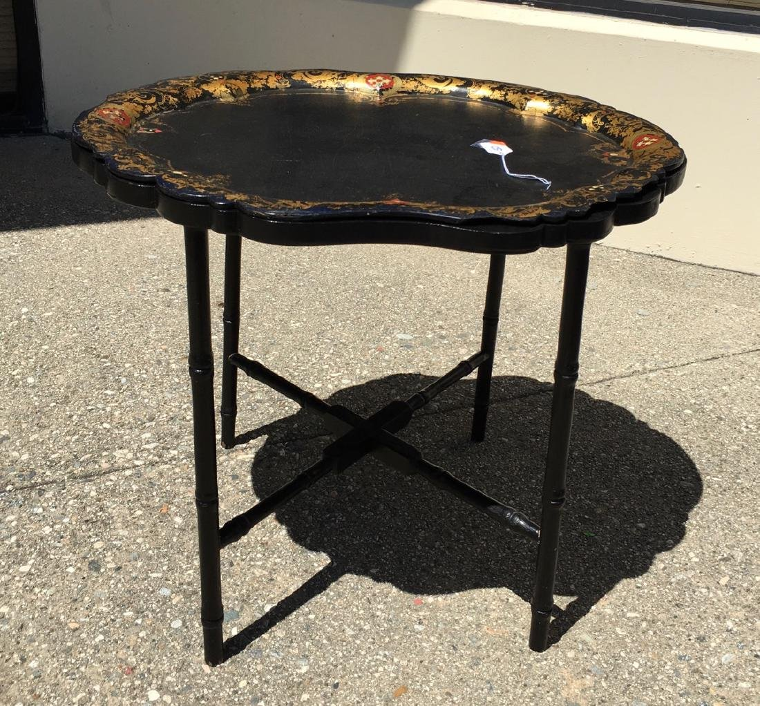 Chinoiserie Lacquerware Tray and Stand C. 1900 - 3