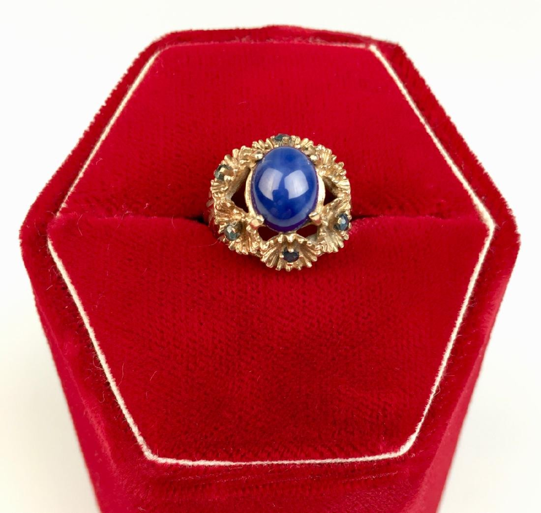 Blue Star Sapphire and 14K Gold Ring