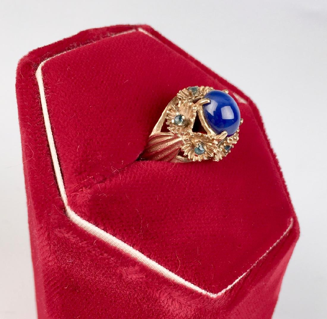 Blue Star Sapphire and 14K Gold Ring - 2