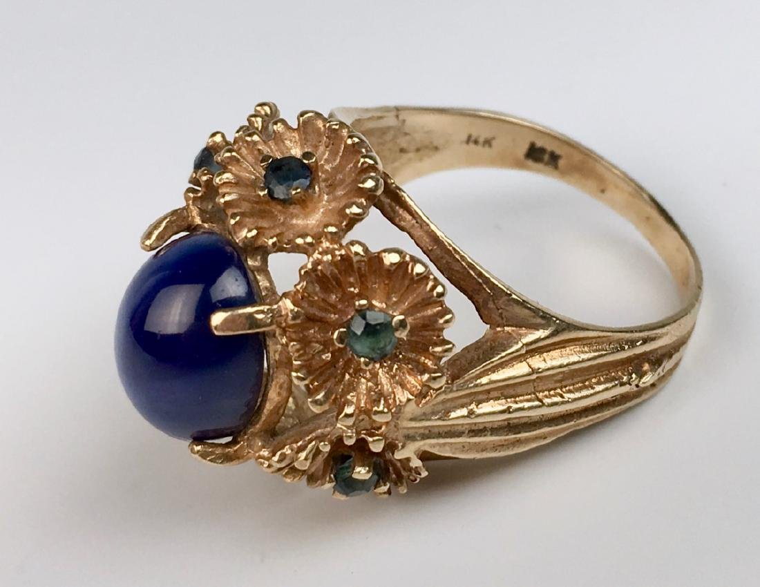 Blue Star Sapphire and 14K Gold Ring - 3