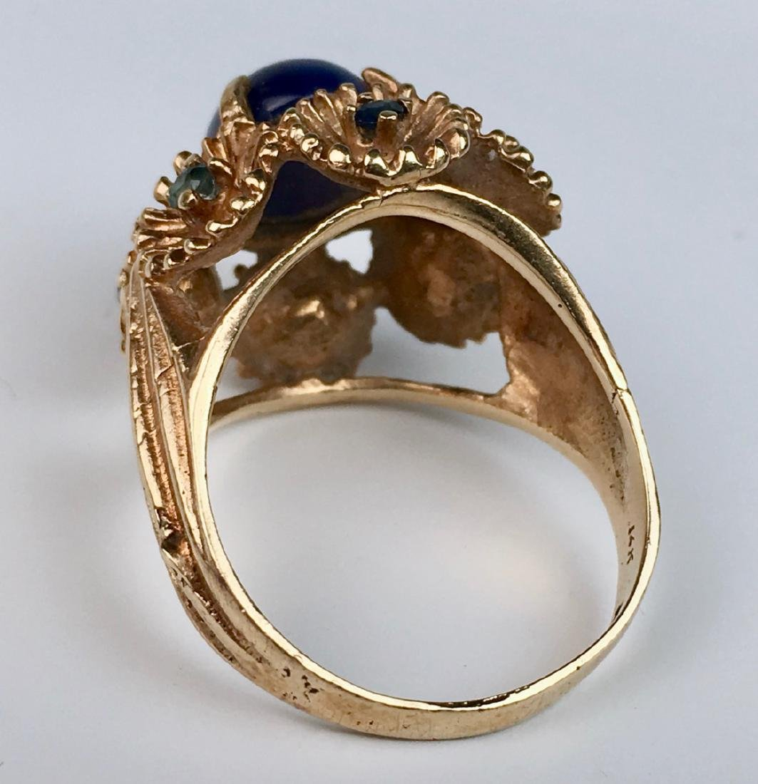 Blue Star Sapphire and 14K Gold Ring - 4