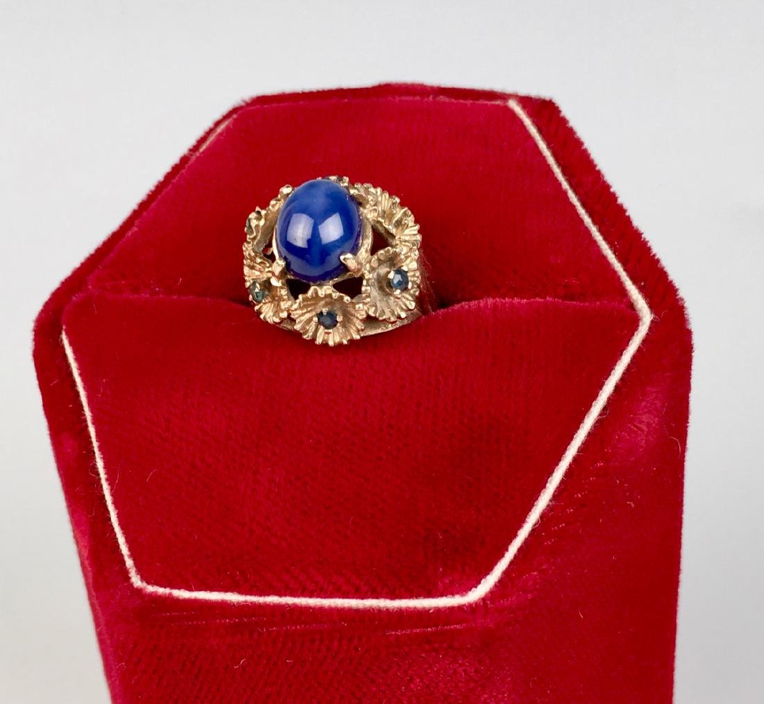 Blue Star Sapphire and 14K Gold Ring - 5