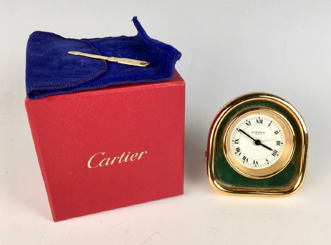 Desk Clock by Cartier, Gold Plated Case