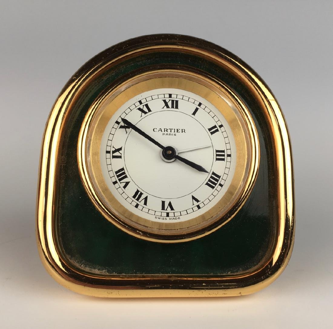 Desk Clock by Cartier, Gold Plated Case - 2