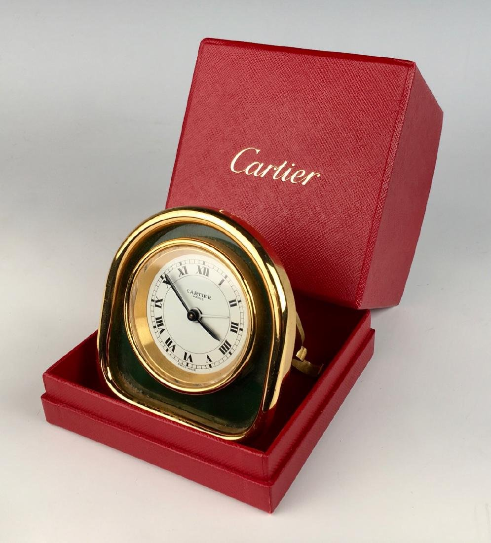 Desk Clock by Cartier, Gold Plated Case - 5
