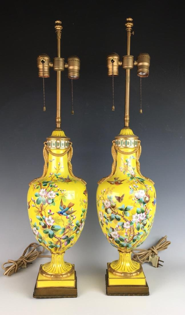 Pair Sevres Style Lamps w/ Hand Painted Birds