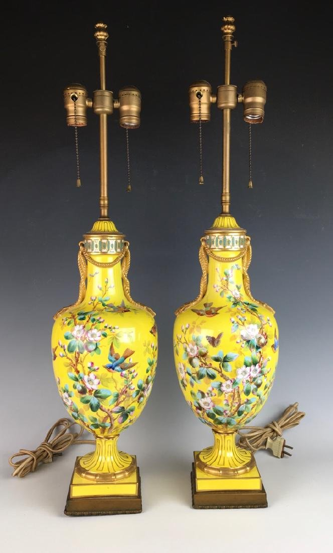Pair Sevres Style Lamps w/ Hand Painted Birds - 2