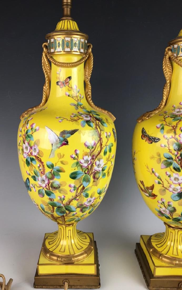 Pair Sevres Style Lamps w/ Hand Painted Birds - 4
