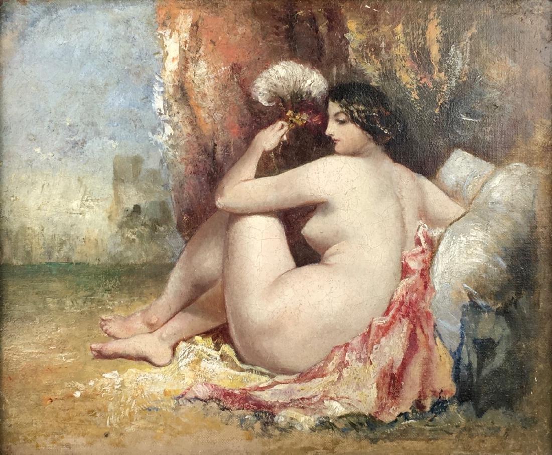 19th Century Nude Harem Painting on Canvas - 2