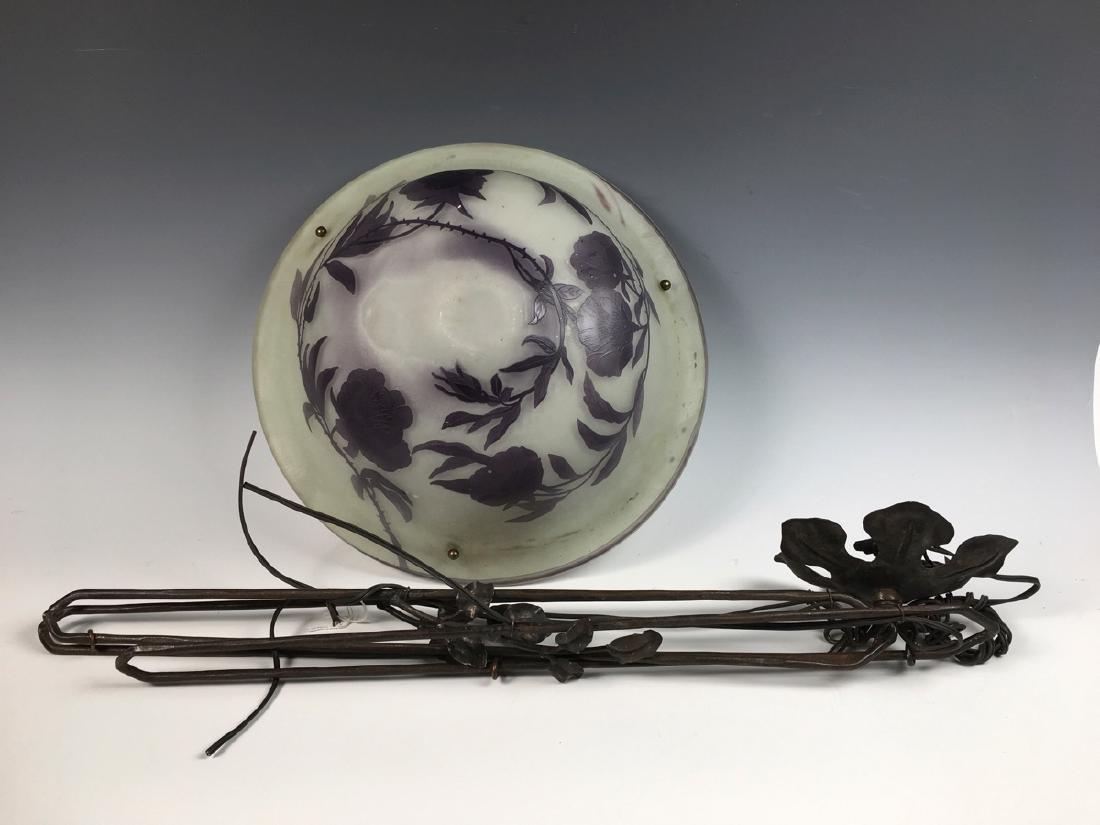Daum Nancy Cameo Glass Hanging Lamp