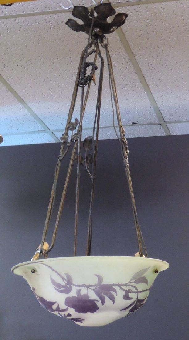 Daum Nancy Cameo Glass Hanging Lamp - 2