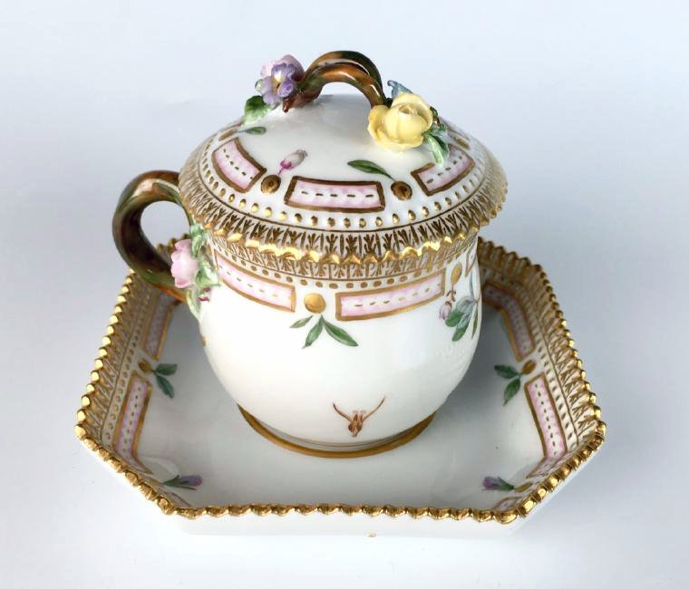 Flora Danica Covered Cup and Saucer