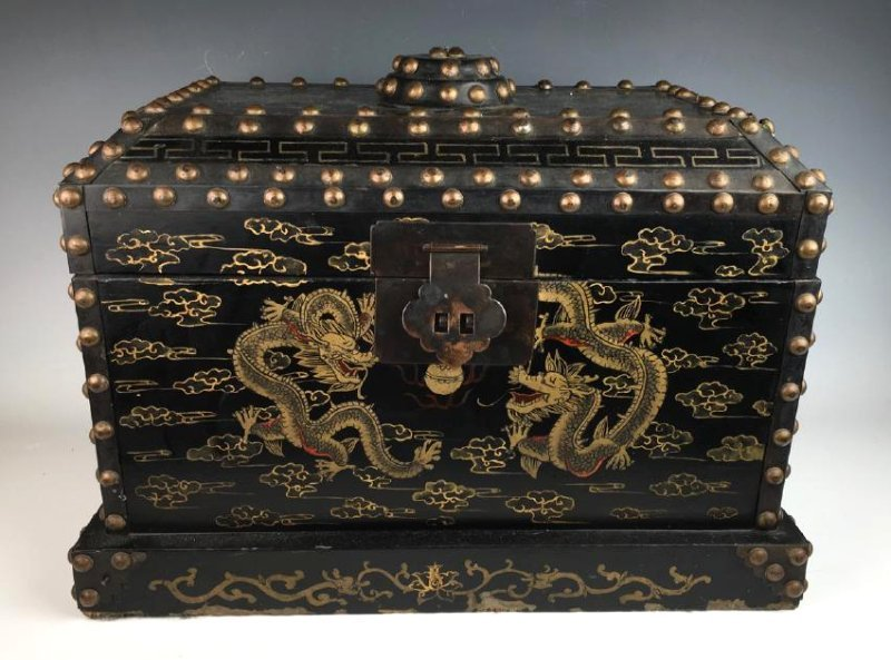Japanese Chest with Metal Studs C. 1900