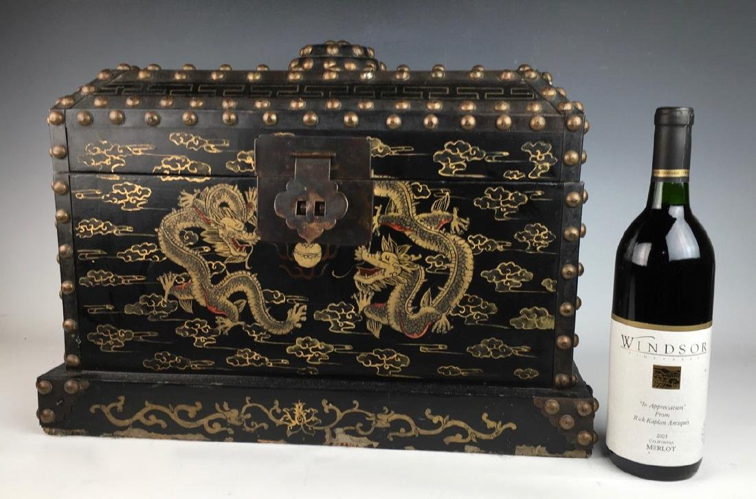 Japanese Chest with Metal Studs C. 1900 - 7