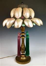 Antique Belle Epoque Austrian Shell & Jewels Lamp