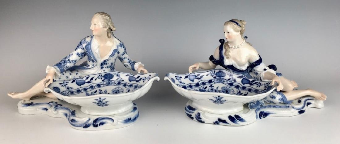 Pair Meissen Blue Onion Sweet Meat Figural Dishes