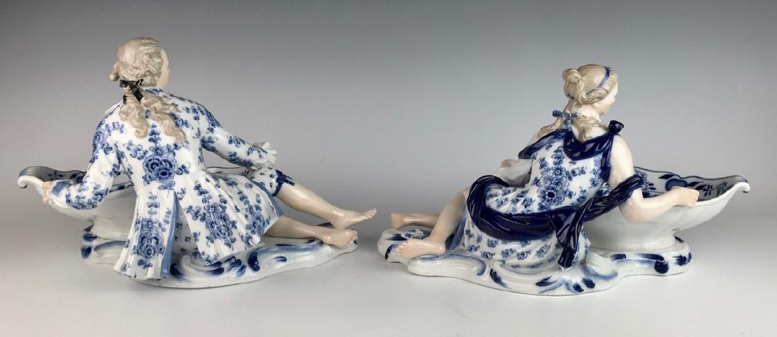 Pair Meissen Blue Onion Sweet Meat Figural Dishes - 2