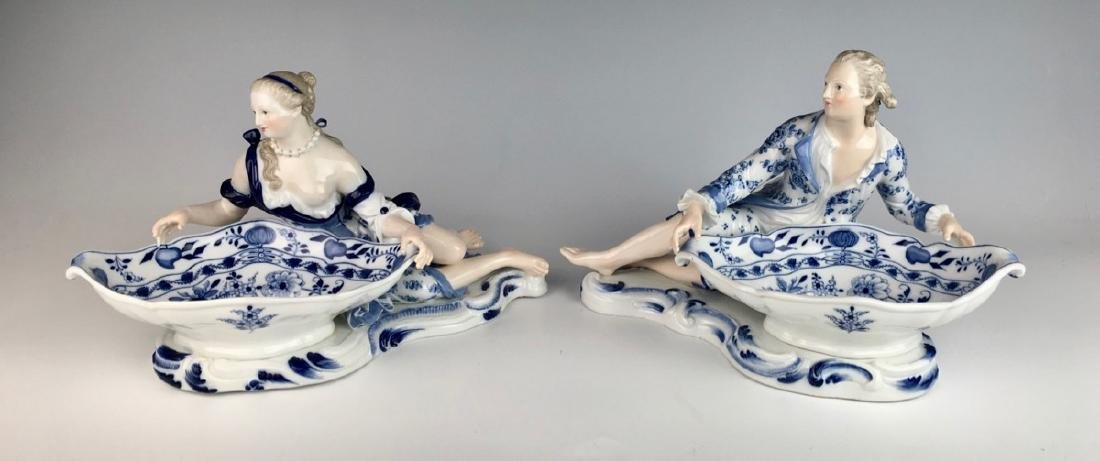 Pair Meissen Blue Onion Sweet Meat Figural Dishes - 3
