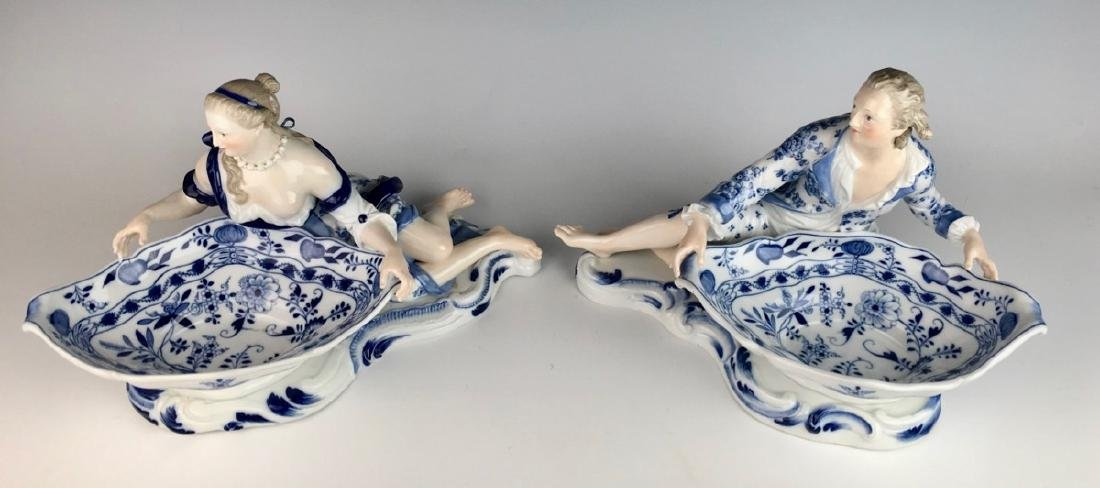 Pair Meissen Blue Onion Sweet Meat Figural Dishes - 4