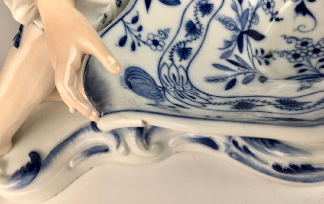Pair Meissen Blue Onion Sweet Meat Figural Dishes - 7