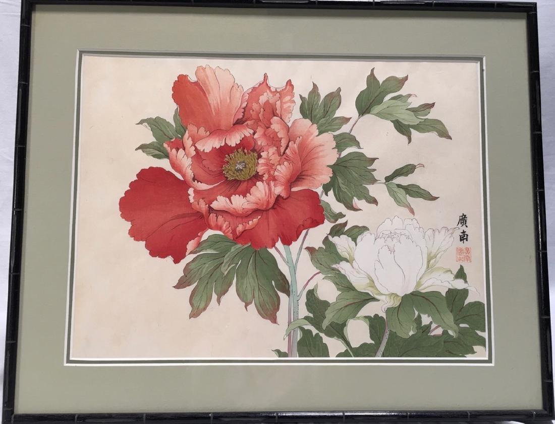 "Japanese Woodblock ""Red Peony"""