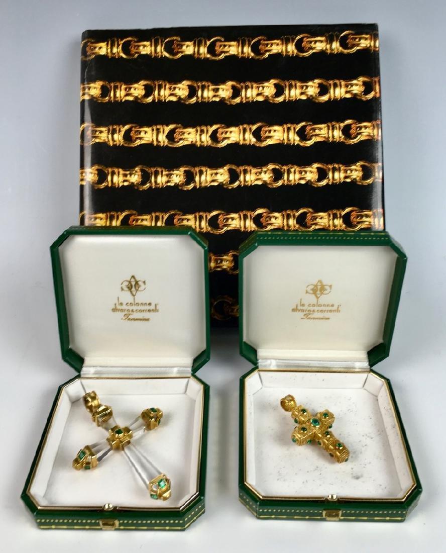 Pair of Alvaro & Correnti Italian 18K Crucifixes
