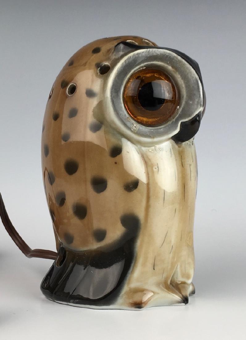 German Porcelain Owl Perfume Lamp - 2