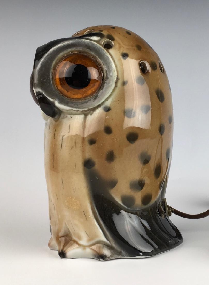German Porcelain Owl Perfume Lamp - 3